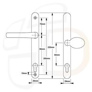 Millenco Lever Movable Pad 95mm/65mm PZ 200mm Screw Centres