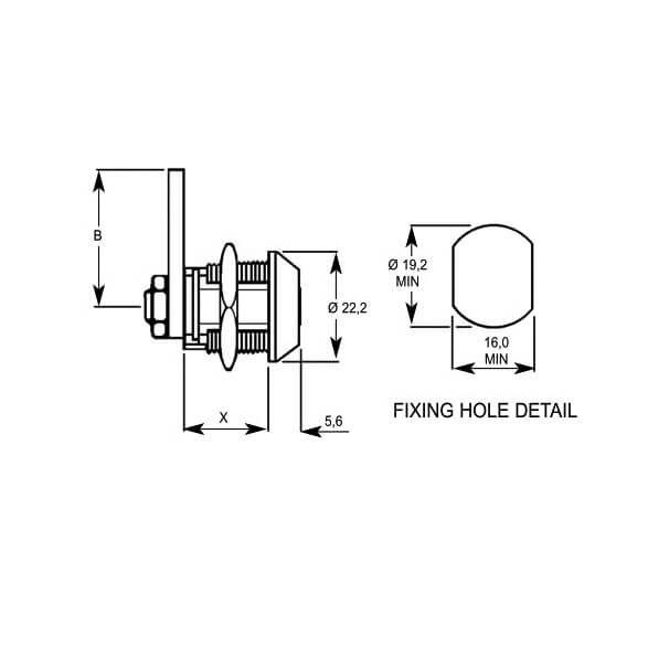 Lowe /& Fletcher 4304 Radial Pin Nut Fix 22mm Camlock Chrome Plated