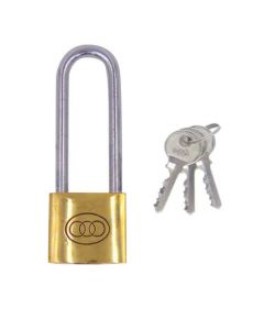 Tri Circle 38mm Long Shackle Brass Padlock