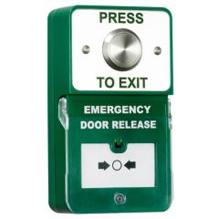 TSS Dual Press to Exit & Emergency Door Release. Stainless Steel Button.