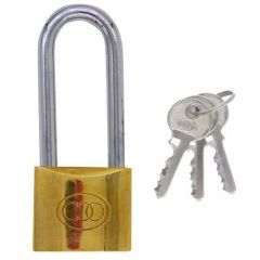Tri Circle 50mm Long Shackle Brass Padlock