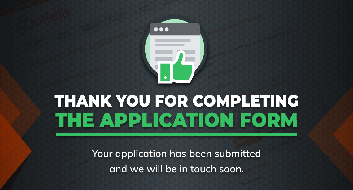 Thank you for completing the application form